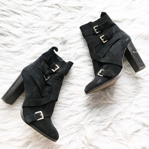 Topshop Black Suede Buckle Ankle Booties Heels